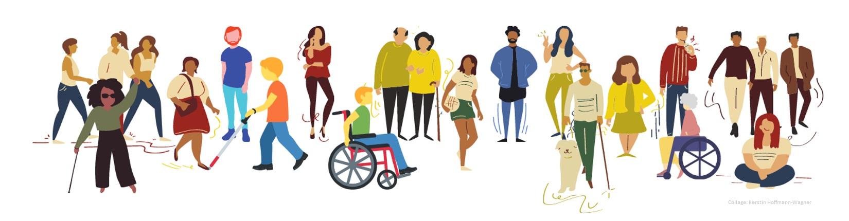 Beispielbild für die Vielfalt der Gesellschaft und Inklusion. Collage von Kerstin Hoffmann-Wagner